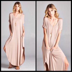 🌸LAST🌸 Mocha Oversized Side Slit Maxi Dress